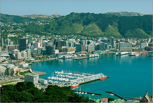 9. Wellington International Airport Location: Wellington, New Zealand Why it's scary: The strong winds on approach have been known to throw around many a plane trying to land. Pictured: Wellington Harbor in Wellington, New Zealand.