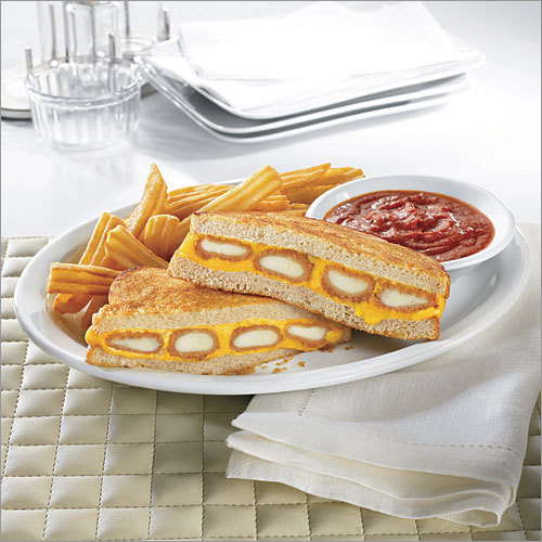 Denny's Fried Cheese Melt Want some cheese with your cheese? Denny's newest addition to its $4 value menu is a grilled cheese sandwich that's stuffed with four mozzarella sticks, according to nrn.com . The sandwich is served on sourdough bread with a side of marinara sauce. Would this sandwich melt in your mouth? online survey