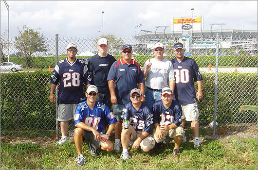 With Patriots Training Camp in full swing, fans from across the nation are sending in photos showing us their Patriots pride. Miami, Fla., resident Bruce Jordan was lucky enough to see the Patriots play at Dolphins Stadium in November 2005. Here, he posed in front of Dolphins Stadium with his brothers Tim and Mike Jordan of Millville, Mass., nephew Zack Jordan and brother Bob Jordan of Stuart, Fla., nephew Justin Orzeck of Haverhill, Mass., brother in-law Bill Santos, and nephew Eric Orzeck of Tiverton, R.I.