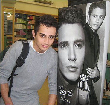 Max Macauda posed with James Franco's Gucci advertisement, showing the resemblance. Do they look alike? online surveys