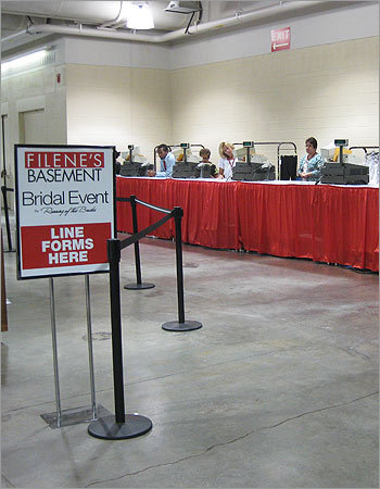 Cashiers stood ready and waiting for brides to make their purchases.