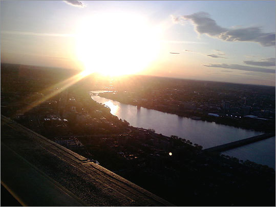 Boston University student Jeffrey P. Hand shot this photo from the Top of the Hub at sunset using an LG cell phone.