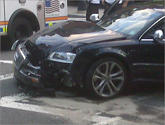 Tom Brady's Audi was damaged in the crash.