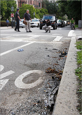 Boston Police's crime scene response officers investigated the scene of the accident.
