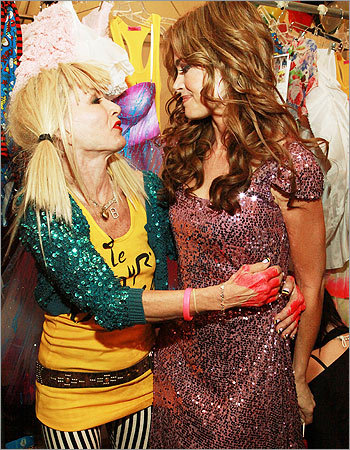 Betsey Johnson (left) and former model and actress Denise Richards embraced backstage at the Betsey Johnson show, held at The Theater at Lincoln Center on Sept. 13.