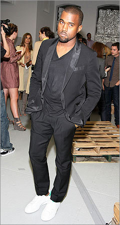 Kanye West was also seen at the Rodarte show.
