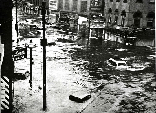 The business district in Providence was severely flooded.