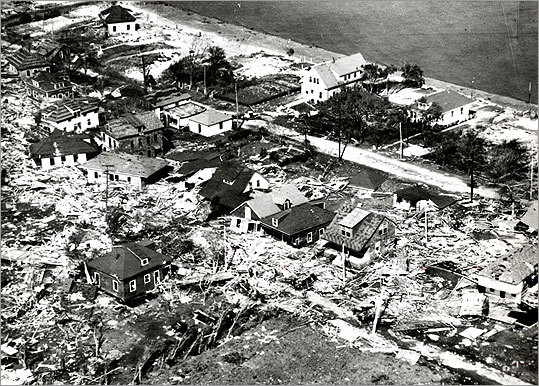 An aerial view of Conimicut Point on Rhode Island's coast showed the area was hit hard by the hurricane.