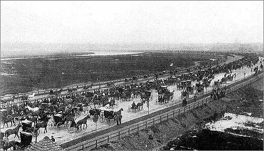 A view of the speedway's third annual parade in 1902.
