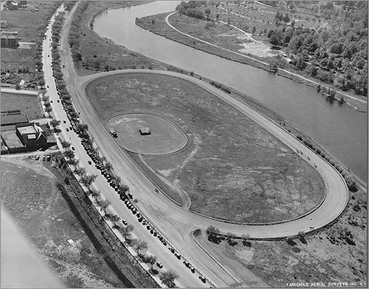 The headquarters of the old Charles River Speedway in Brighton was named to the state's annual 'Most Endangered Historic Resources' list. Preservationists are now hoping to inspire new thinking about re-using the old speedway buildings. Here's a look at the speedway through the years. Read the full story An aerial view of the trotting park section of the speedway in 1928.