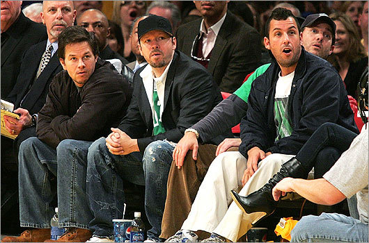 As a Boston native, Wahlberg is a die-hard Celtics fan. Sitting with his brother Mark, left, and Adam Sandler, right, Walhberg cheered on the Celtics as they took on the Lakers at the Los Angeles Staples Center in December of 2007.