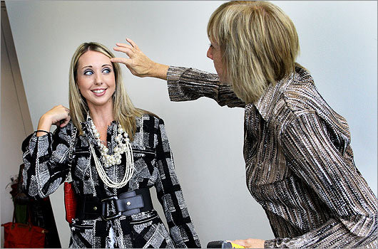 Sept. 26 in Dorchester Model Emily McDonough got some finishing touches from her mother, Mary McDonough, of Dorchester.