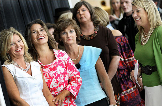 Sept. 26 in Dorchester Models awaited their turn to hit the runway.