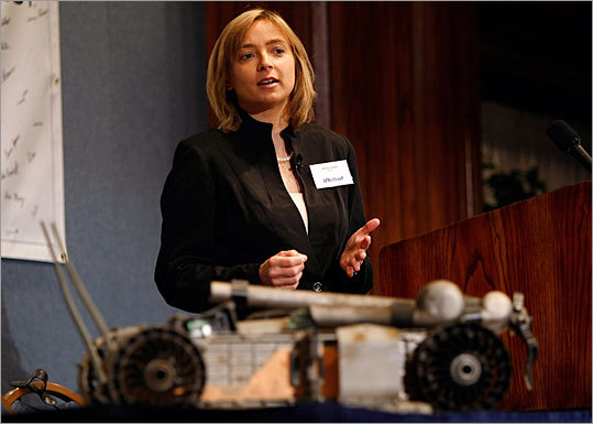 Helen Greiner Founder and chief executive, CyPhy Works, Framingham Greiner, an MIT alumnae and co-founder of iRobot Corp., hasn't said much publicly about her latest start-up. But if you imagine a small flying robot with cameras built in, you're probably not far off. The company won a $2.4 million federal grant last year to develop hover-bots capable of inspecting bridges, dams, and other civil infrastructure.