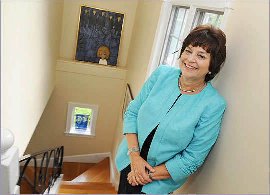 Nancy Kaufman, outgoing executive director of the Jewish Community Relations Council in Boston, poses at her home in Swampscott. (Lisa Poole for The Boston Globe)