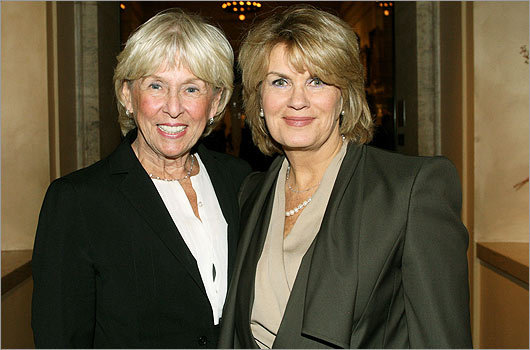 Oct. 15 in Boston From left: Kathy O'Donnell of Belmont and dinner chairwoman Anne Finucane of Lincoln.