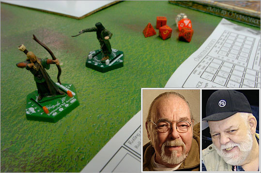 6. E. Gary Gygax and Dave Arneson In the 1960s, Gygax (inset, left) played table-top war games in his basement. Independently of Gygax, Arneson inset, right) began melding combat rules for miniatures with the concept of players controlling not the movements of armies, but the actions of a single infantryman. The two joined forces and, in 1974, released the game-changing Dungeons & Dragons, the first commercially available role-playing game. D&D pioneered fantasy game staples such as players assuming the role of characters (i.e. fighter, wizard, thief) and working collaboratively; a behind-the-scenes director called the 'dungeon master' who dreams up a fantasy realm and referees the plot; and the premise of adventuring in subterranean realms. The Doritos and Mountain Dew came later.