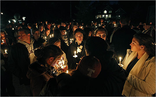 People gathered at the candlelight vigil for Henry in Easton Monday.