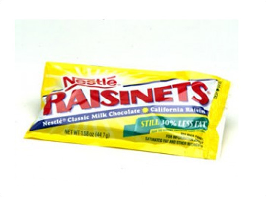 Nestle recalls Raisinets over peanut risk Recalled: Oct. 22, 2010 Nestle issued a voluntary recall of 10 oz. 'fun size' Raisinets bags for a potential peanut risk. The bags were sold to Target, Shop Rite and Don Quixote stores in the U.S. The company says it has received three complaints. Nestle said the recall only applies to candy with the 02015748 production code and UPC number of 2800010255. The packaging does state the product is manufactured in a facility that also handles peanuts.