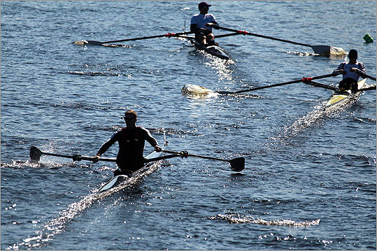 The 46th annual Head of the Charles Regatta kicked off Saturday, and despite temperatures in the high 40s and gusty winds, thousands of spectators flocked to the river front to watch about 8,000 rowers navigate the winding Charles. Check out some photos from this weekend.