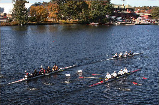Three boats of competitors in the Men's Senior-Master Fours rowed dangerously close to one another.