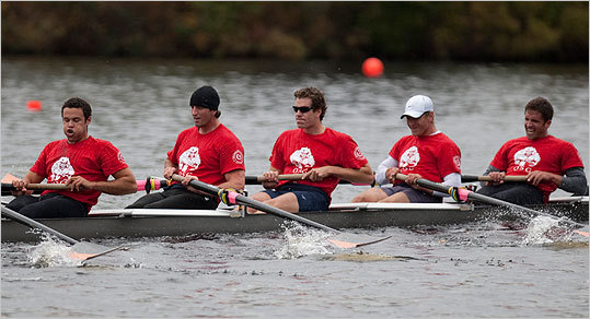 Cameron Winklevoss (wearing sunglasses), a Harvard grad and Olympic rower, rowed with the Old Glory Boat Club.
