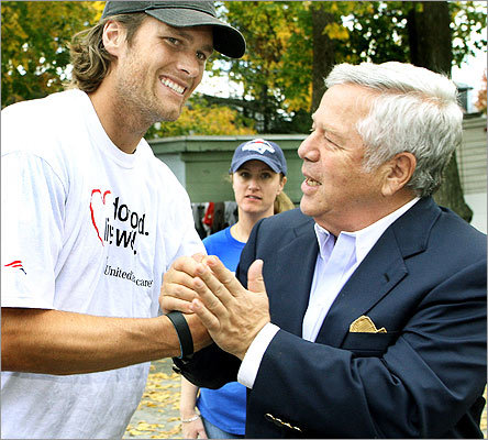 Oct. 26 in Waltham About 200 people showed up at the Waltham Boys and Girls Club to help build a new playground. Several members of the New England Patriots were on hand, including Tom Brady (left) and team chairman and CEO Robert Kraft. Read more in Names (Globe)