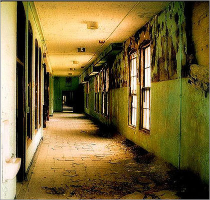 Hallway at Foxborough State Hospital.