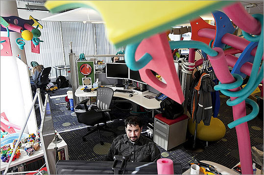 Top medium-sized workplaces 2011 1: Google, Inc. Technology Based in: Mountain View, Calif. 2010 rank: 4 2009 rank: 4 Left: Vitaliy Lvin, a software engineer, works at Google's Cambridge office, surrounded by foam toys.