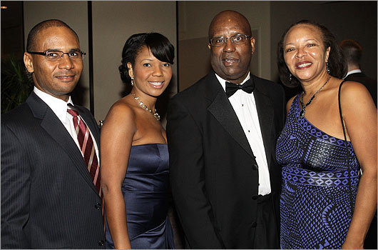 Oct. 30 in Boston From left: Chris Harris of Dorchester, Jennease Hyatt of Jamaica Plain, Darnell Williams, CEO of Urban League of Eastern Massachusetts, and his wife, Colleen, of Roxbury.
