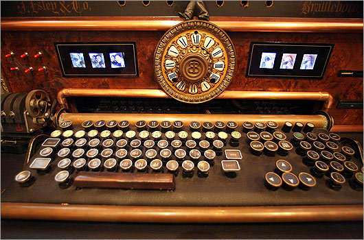 At the steampunk decorated home of Bruce and Melanie Rosenbaum, an antique keyboard holds six changing family photos.