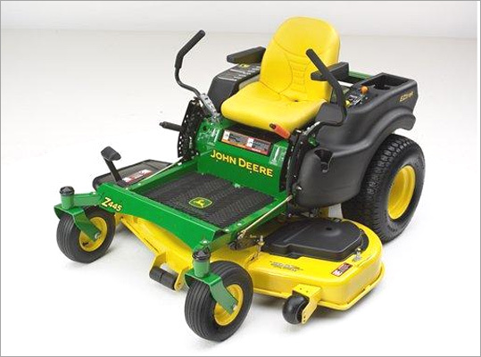 John Deere recalls mowers with foot-lift option Recalled: Oct. 27, 2010 John Deere recalled about 6,450 EZtrak Zero Turn Lawn Mowers with Foot Lift and 300 Zero Turn Mowers with Premium Foot Lift Kits. A bolt in the right-hand steering lever can get caught on the foot lift pad and lock in place with the steering lever in the forward travel position, posing a hazard to the driver. The company said it has received no reports of injuries. Customers should stop using the mowers and contact a local John Deere dealer to have the lift stop bracket removed. For more information, call the Deere & Company at 1-800-537-8233.