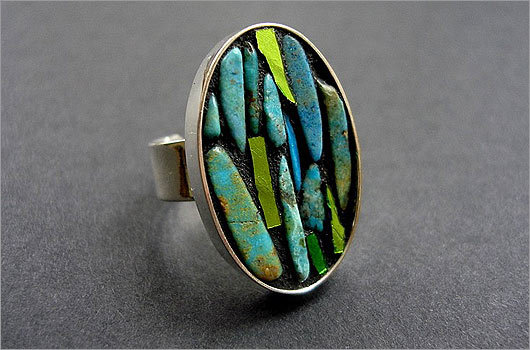 Turquoise ring by CrookedMoonMosaics
