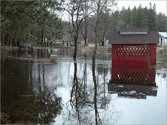 6. Brookfield Total housing units: 1,259 Total distressed units: 36 Distressed units per 1,000 housing units: 28.6 This small town in the center of Massachusetts saw a 90 percent increase in its distressed housing rate over the last year. Pictured: Flooding in a Brookfield yard in 2004 due to a nearby beaver dam.