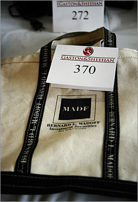 Talk about a conversation starter. This tote bag printed with 'Bernard Madoff Investment Securities' was on the auction block as well. Proceeds from the auction went to the US Department of Justice's Asset Forfeiture Fund to compensate the convicted swindler's victims. An auction last year of Madoff's property raised $1 million.