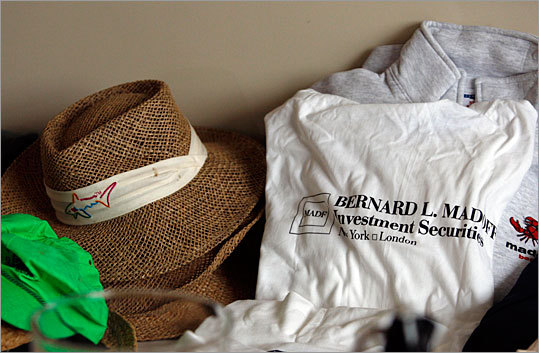 A t-shirt printed with Madoff's fraudulent investment business was among other pieces of clothing being sold.