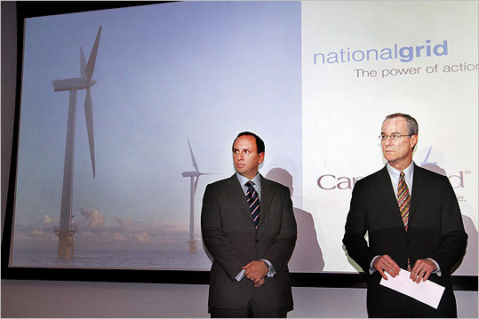 July 2010 The Massachusetts Attorney General's Office got Cape Wind developers to reduce the price of its electricity by 10 percent, saving consumers at least $456 million over the 15-year span of a proposed contract with National Grid. Tom King, left, president of National Grid US, and Jim Gordon, president of Cape Wind Associates, spoke about the power purchase contract on May 7, 2010.