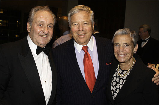 Nov. 19 in Boston From left: attorney Bob Popeo of Charlestown, Patriots owner Robert Kraft, and his wife, Myra Kraft.