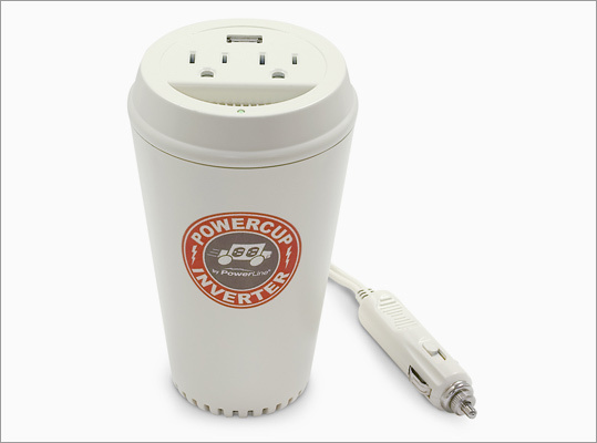 Coffee cup power inverter Price: $29.99 Drivers re-charge with cup after cup of coffee. Why shouldn't electronics? This gadget, which plugs into the car's cigarette lighter socket, has two AC plugs and a USB port.