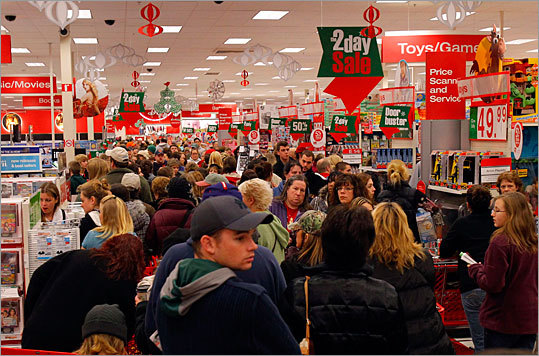 Shoppers made their way through the packed Target store in Lanesborough, north of Pittsfield.
