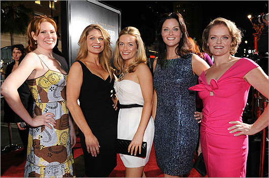 Walking the red carpet was Erica McDermott (second from right), a 36-year-old Scituate mom who, despite having only acted in a few films, stars as one of Micky Ward's seven sisters. Here, she poses with costars (from left): Bianca Hunter, Dendrie Taylor, Jenna Lamia, and Melissa McMeekin.