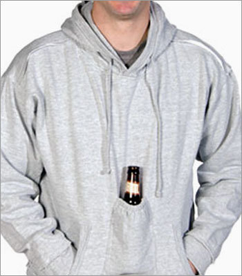 Beer pouch sweatshirt Price: $29.95 to $34.95 Beer is great, but holding it between sips can sure be difficult. Storing a brew in the special pocket on this sweatshirt leaves hands free to high-five, gesture wildly during important moments in sporting events, and eat without making a mess.