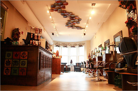 The Loft by Michael Albor The award-winning stylist – and quite possibly the nicest man on Newbury Street – gives his ever-growing staff some room to breathe in an airy new space (formerly occupied by Vera Wang) just down the street from his old salon. Michael Albor's own high-style design aesthetic is on prominent display here – ceiling artwork, fashion photography lining the walls – but cut/color prices start in the amazing-for-Newbury double digits. 253 Newbury Street, Boston, 617-536-5638, theloftsalonanddayspa.com