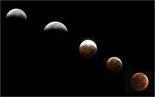 The December lunar eclipse boasted an unusual facet. For the first time in almost 400 years, the eclipse took place on the same day as the winter solstice, which meant the moon was higher in the sky and easier for eclipse watchers to see. Click through the gallery to see pictures of the eclipse from across the world. This combination of pictures showed the moon during a circle of a total eclipse as seen from Silver Spring, Md.