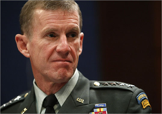 General Stanley McChrystal McChrystal's name landed in national headlines after the general, who was the commander of US operations in Afghanistan, made negative comments about the Obama administration during an interview with Rolling Stone. The remarks led to McChrystal tendering his resignation and Obama replacing him with General David Petraeus. Read the story .