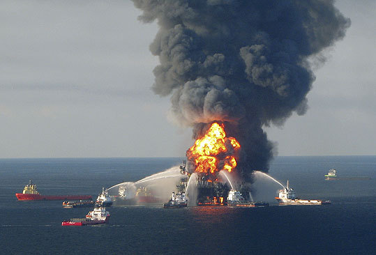 The BP oil spill The April 23 explosion of the BP oil rig Deepwater Horizon set off a massive oil spill that took almost a quarter-year to stop. The spill poured more than 200 million gallons of oil into the Gulf of Mexico according to one government estimate, making it the biggest oil spill in US history and an unprecedented environmental disaster. Read the story .