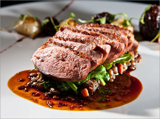 he spice Long Island duck breast at Deuxave in Boston