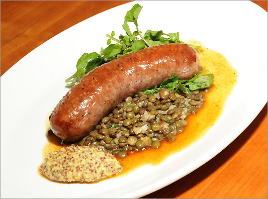 Garlic sausage at 5 Corners Kitchen in Marblehead