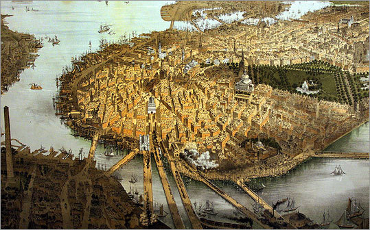 Boston: Bird's-eye view from the North, by John Bachmann, 1877