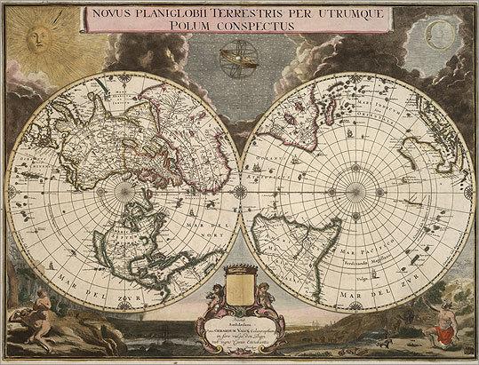Novus planiglobii terrestris per utrumque polum conspectus, by Gerard Valck, 1695